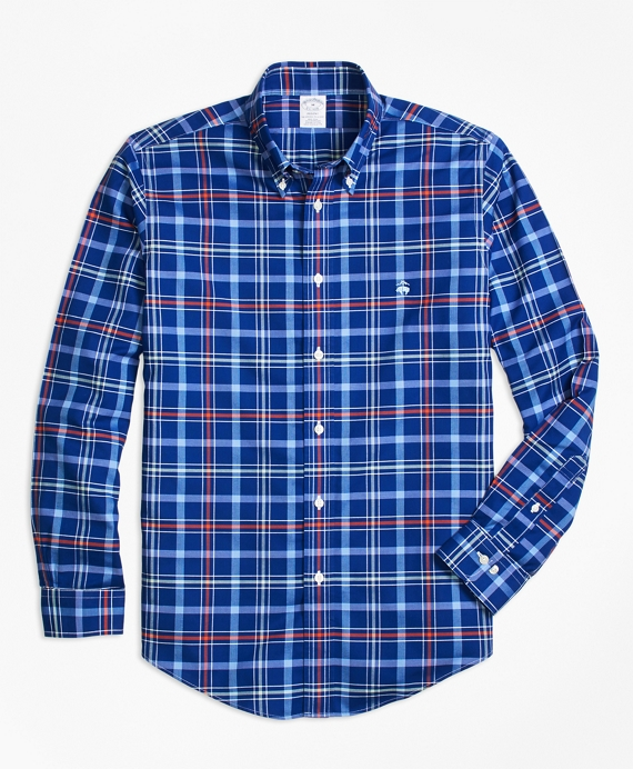 Non-Iron BrooksCool® Regent Fit Plaid Sport Shirt Blue