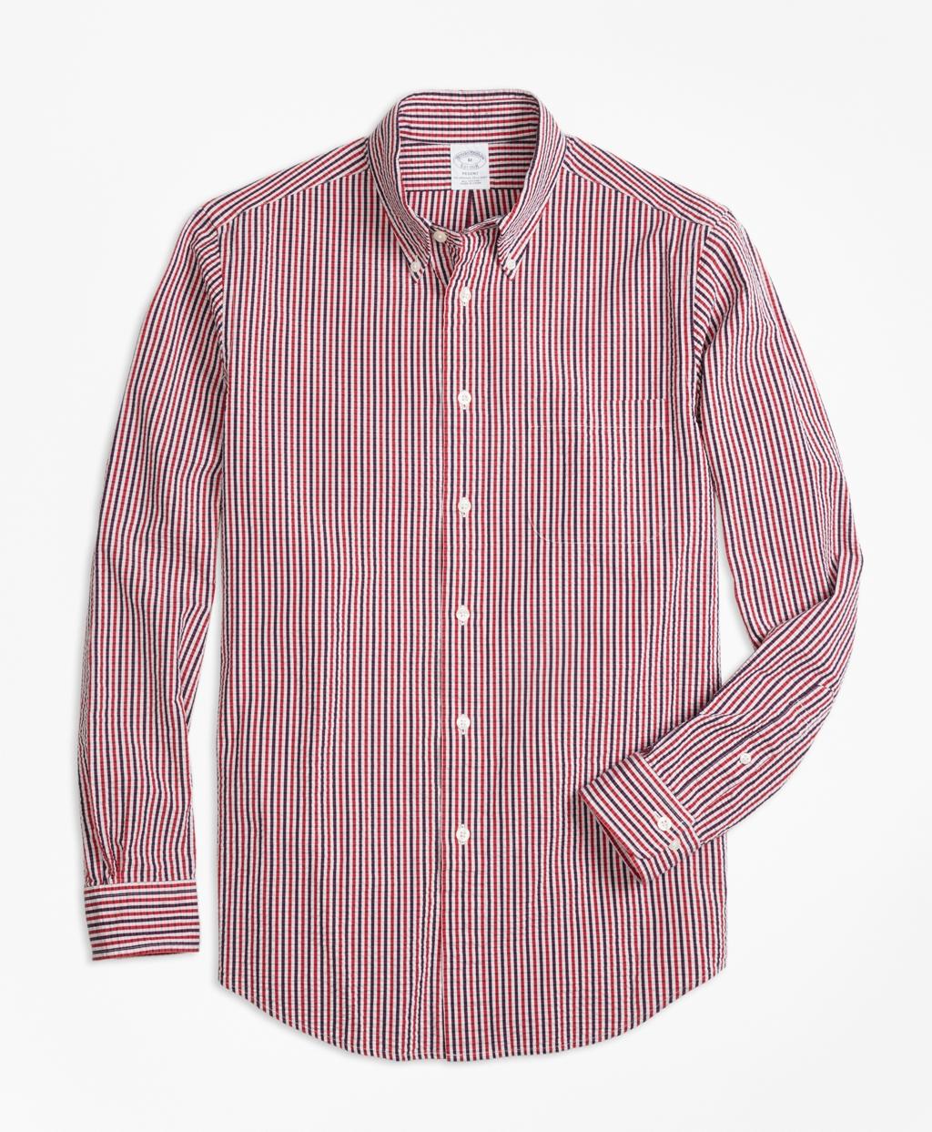 Brooksbrothers Regent Regular-Fit Sport Shirt, Check Seersucker