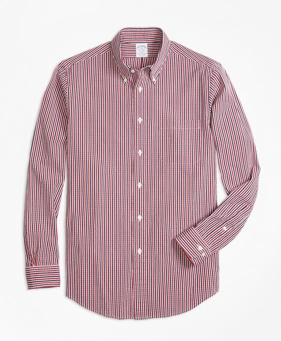 Regent Fit Check Seersucker Sport Shirt Red