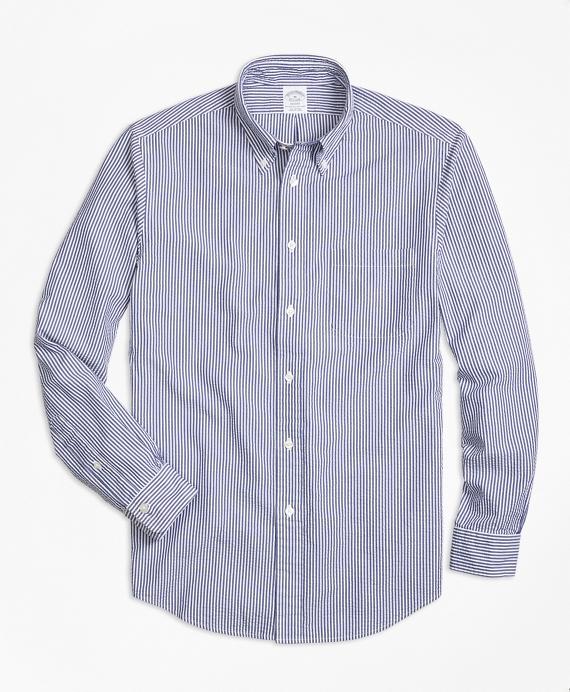 Regent Fit Stripe Seersucker Sport Shirt Blue