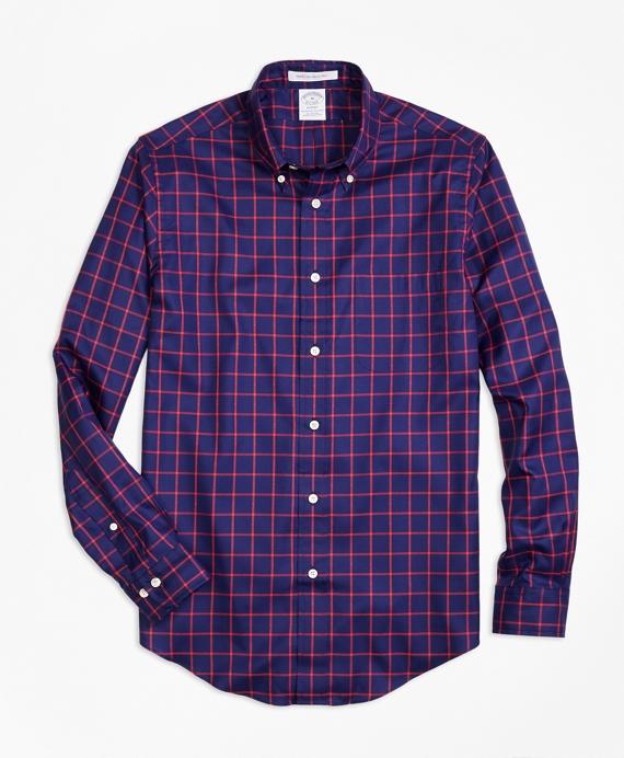 Regent Fit Dobby Windowpane Sport Shirt Blue