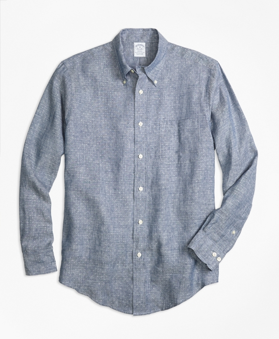 Regent Fit Dot Irish Linen Sport Shirt Indigo