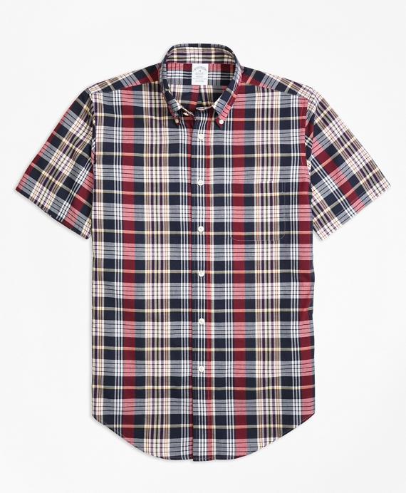 Regent Fit Madras Short-Sleeve Sport Shirt Navy