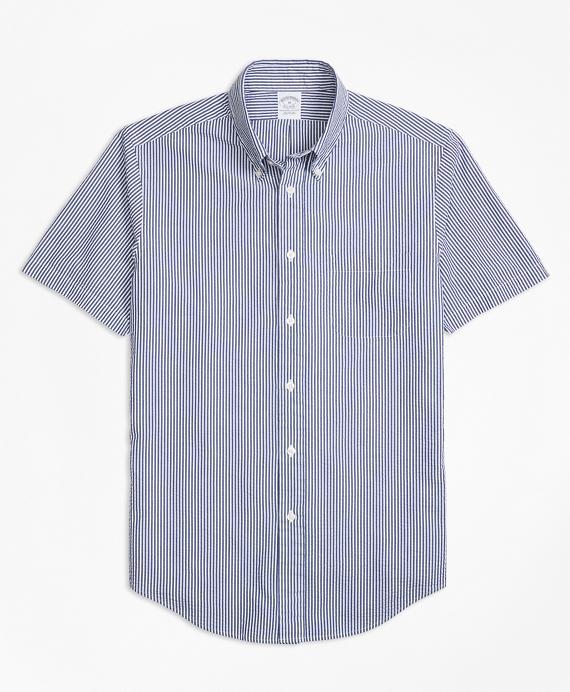 Regent Fit Stripe Seersucker Short-Sleeve Sport Shirt Blue
