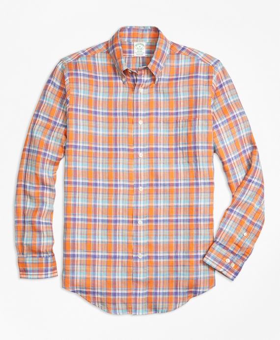 Milano Fit Orange Plaid Irish Linen Sport Shirt Orange