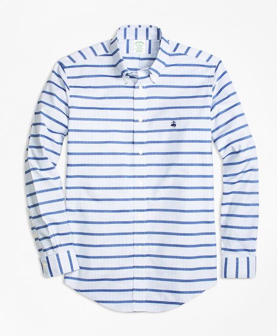 Non-Iron Milano Fit Mariner Stripe Sport Shirt Blue