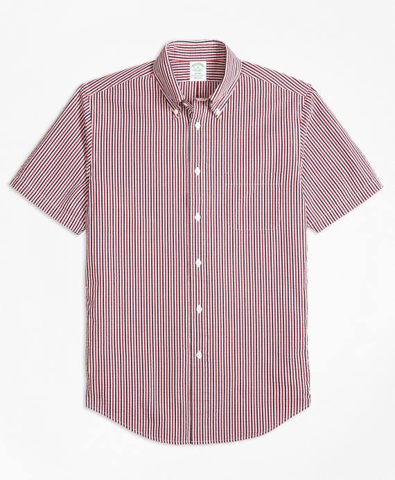 Milano Fit Check Seersucker Short-Sleeve Sport Shirt Red