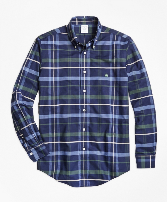 Non-Iron Regent Fit Navy Plaid Sport Shirt Navy