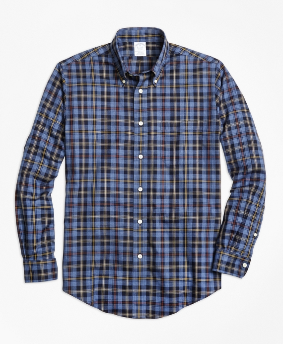 Non-Iron Regent Fit Blue Heathered Plaid Sport Shirt Blue