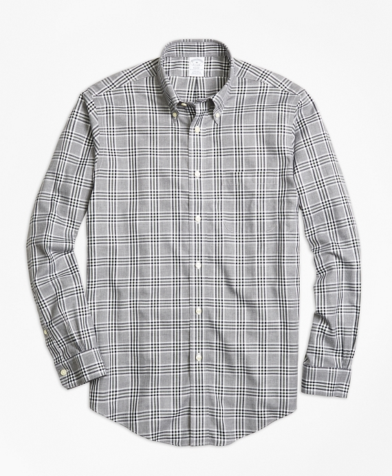Non-Iron Regent Fit Grey Heathered Plaid Sport Shirt Grey