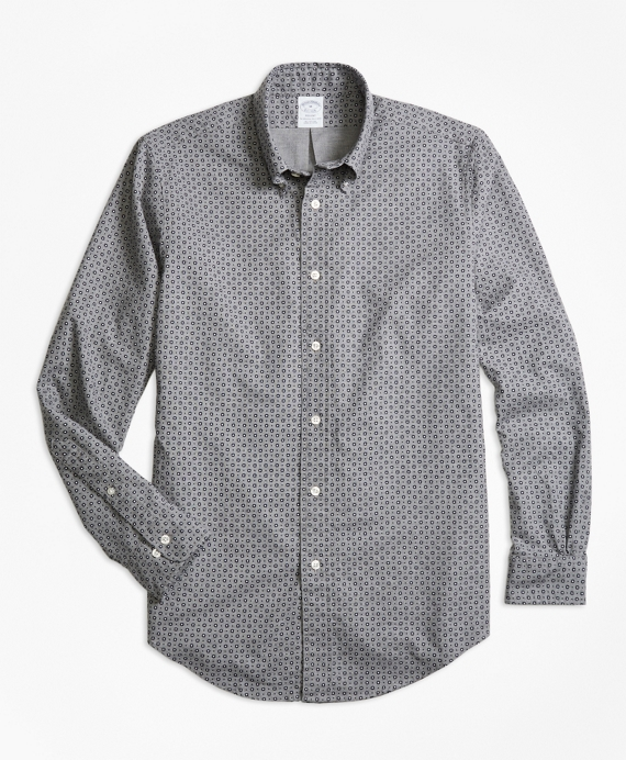 Regent Fit Foulard Print Sport Shirt Grey