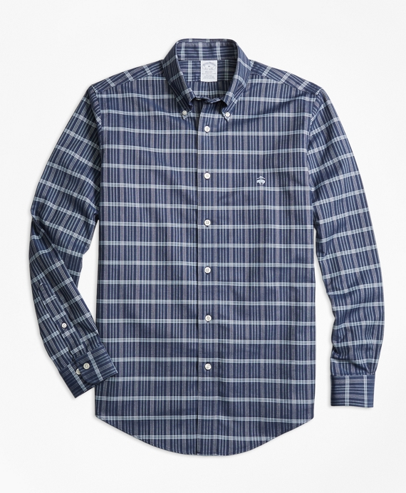Non-Iron Regent Fit Heathered Check Sport Shirt Navy