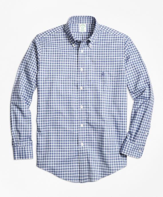 Non-Iron Milano Fit Check Sport Shirt Blue