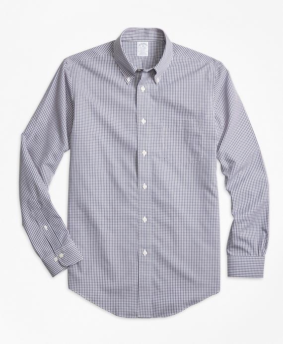 Non-Iron Regent Fit Micro Check Sport Shirt Navy