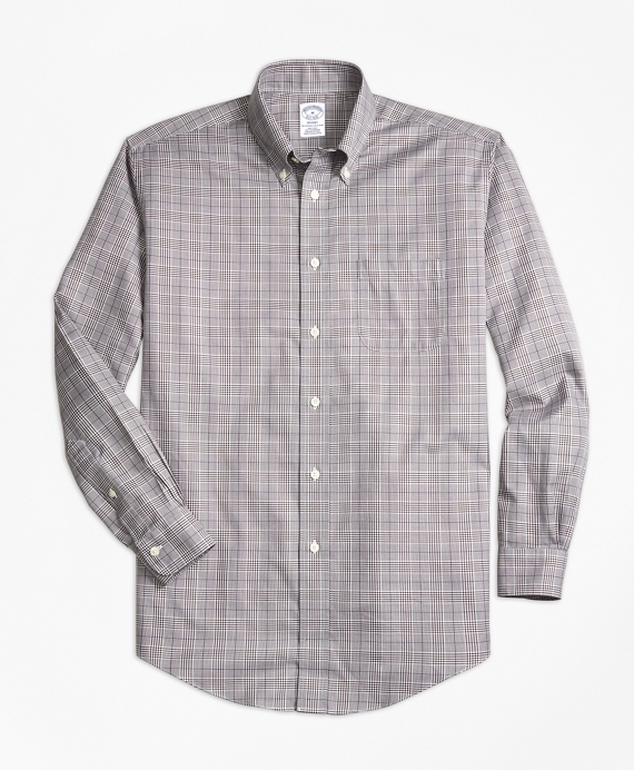 Non-Iron Regent Fit Glen Plaid Sport Shirt Brown