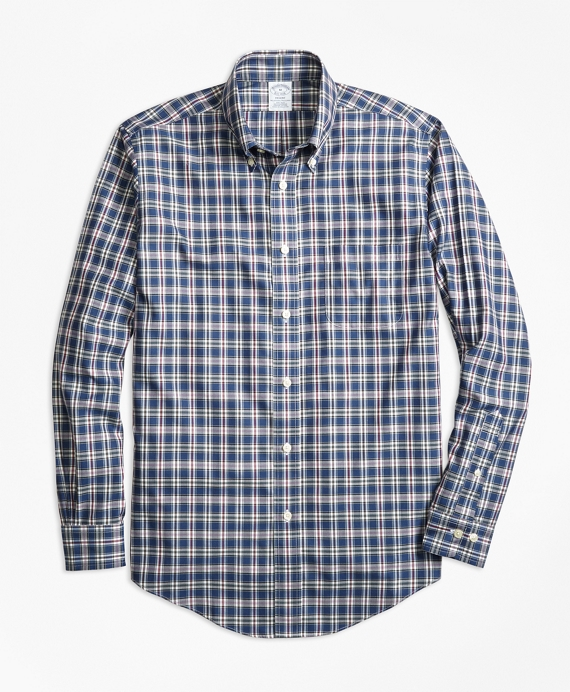 Non-Iron Regent Fit Multi-Check Sport Shirt Navy