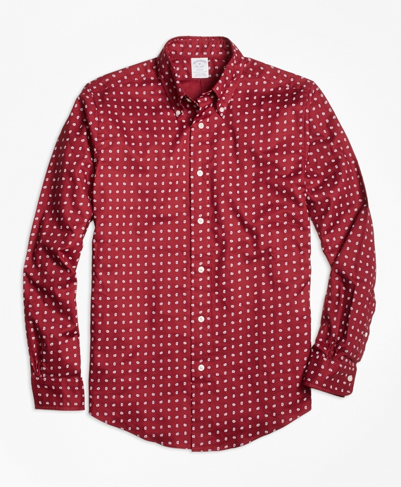 Regent Fit Printed Paisley Sport Shirt Red