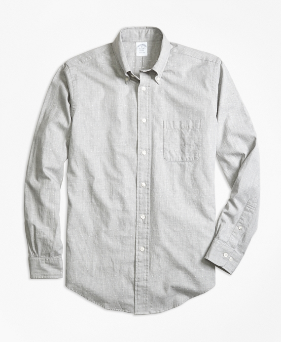 Regent Fit Heathered Dot Sport Shirt Grey