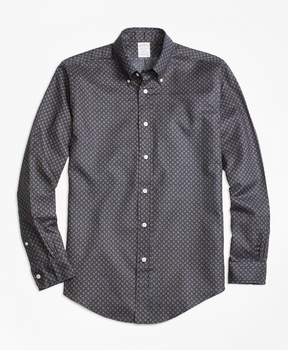 Regent Fit Printed Multi-Paisley Sport Shirt Grey