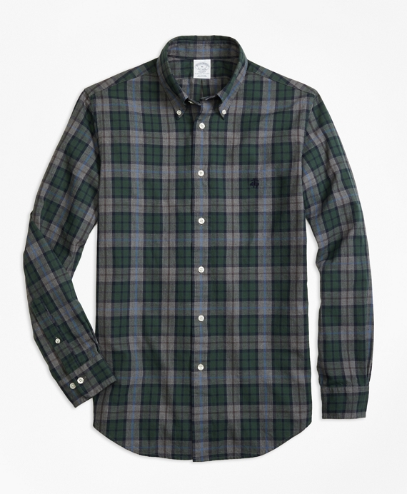 Regent Fit Yarn-Dyed Oxford Plaid Sport Shirt Grey-Dark Green