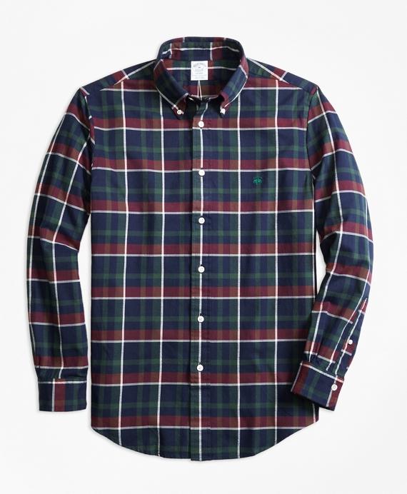 Regent Fit Yarn-Dyed Oxford Navy Plaid Sport Shirt Navy