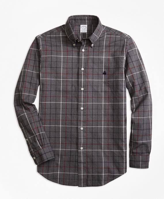 Regent Fit Yarn-Dyed Oxford Windowpane Sport Shirt Grey