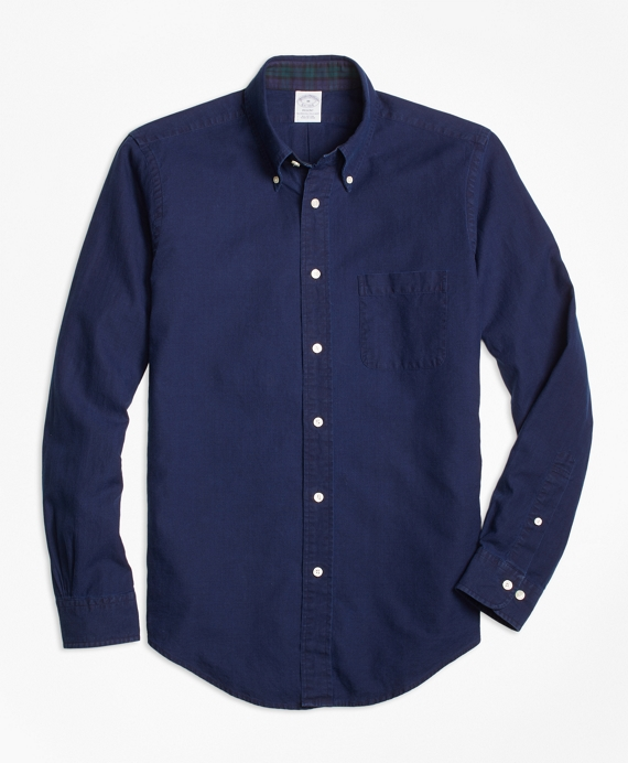 Regent Fit Indigo Dobby Sport Shirt Dark Blue