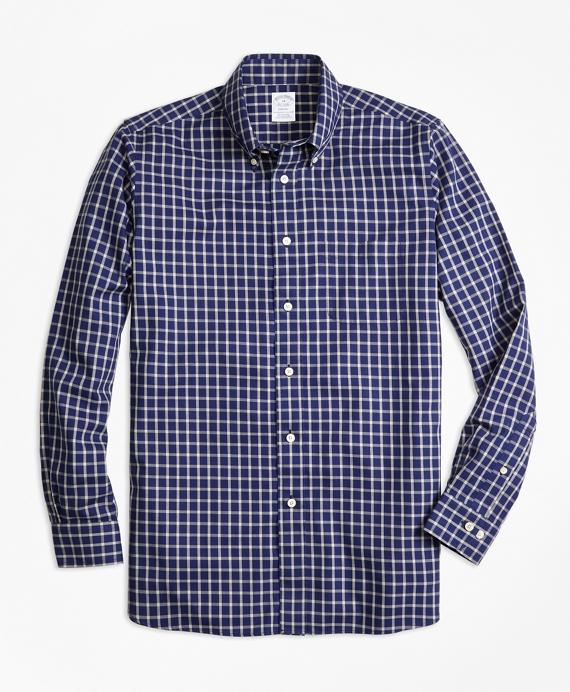 Regent Fit Cotton Cashmere Windowpane Sport Shirt Blue