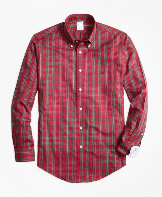Non-Iron Regent Fit Prince Charles Edward Stewart Tartan Sport Shirt Red