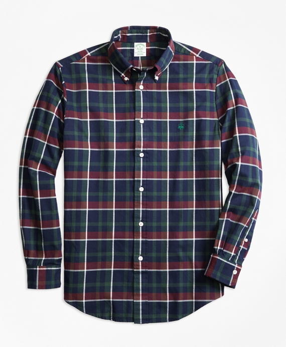 Milano Fit Yarn-Dyed Oxford Navy Plaid Sport Shirt Navy