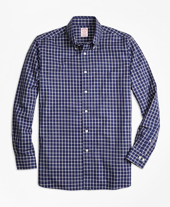 Madison Fit Cotton Cashmere Windowpane Sport Shirt Blue