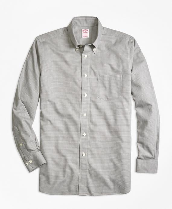 Madison Fit Cotton Cashmere Glen Plaid Sport Shirt Grey