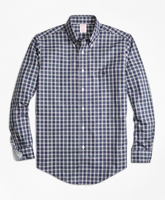 Non-Iron Madison Fit MacLeod Tartan Sport Shirt White-Blue