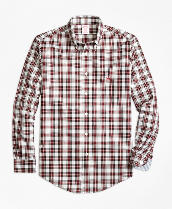 Non-Iron Madison Fit Dress Stewart Tartan Sport Shirt White-Red