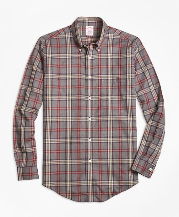 Madison Relaxed-Fit Sport Shirt, Non-Iron Signature Tartan Grey