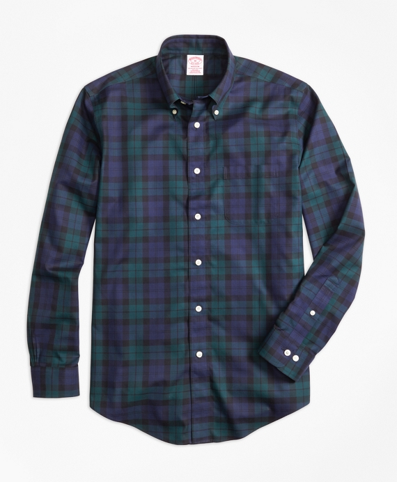 Non-Iron Madison Fit Black Watch Sport Shirt Navy-Green