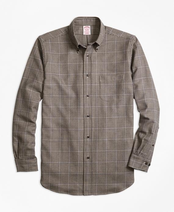Madison Fit Saxxon™ Wool Houndstooth Sport Shirt Tan