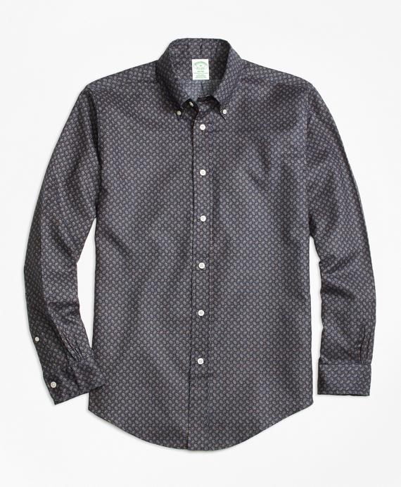 Milano Fit Printed Multi-Paisley Sport Shirt Navy