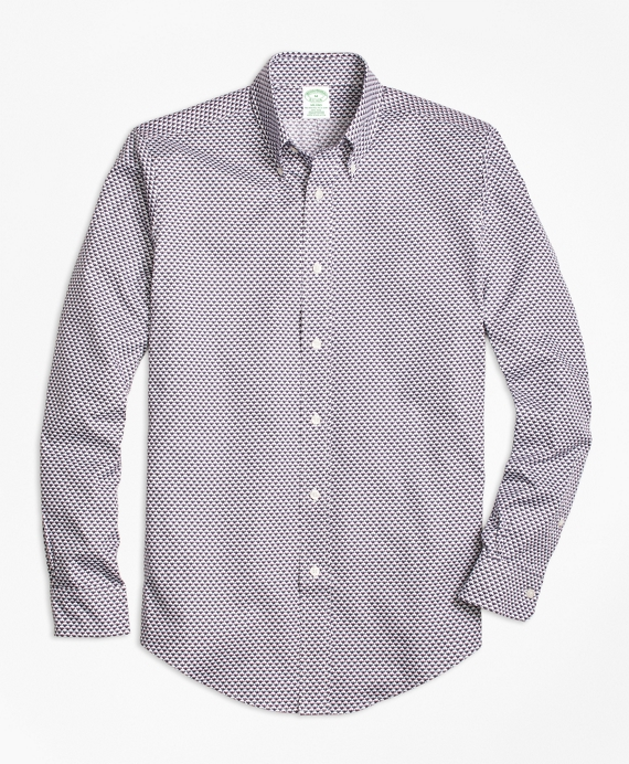 Milano Fit Micro-Golden Fleece® Printed Sport Shirt Navy