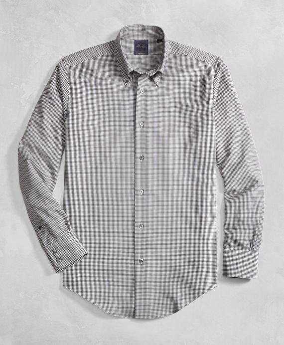 Golden Fleece® Regent Fit BrooksTech™ Tan Small Check Sport Shirt Tan