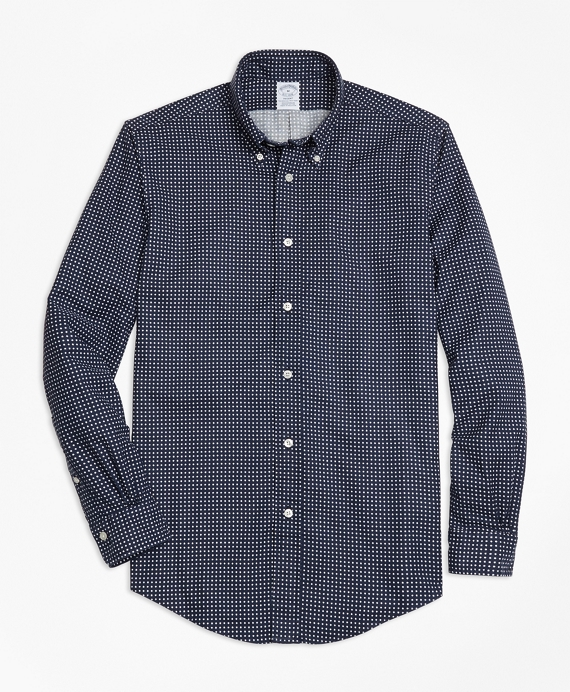 Regent Fit Printed Flower Sport Shirt Navy