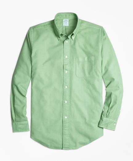Regent Fit Garment-Dyed Textured Sport Shirt