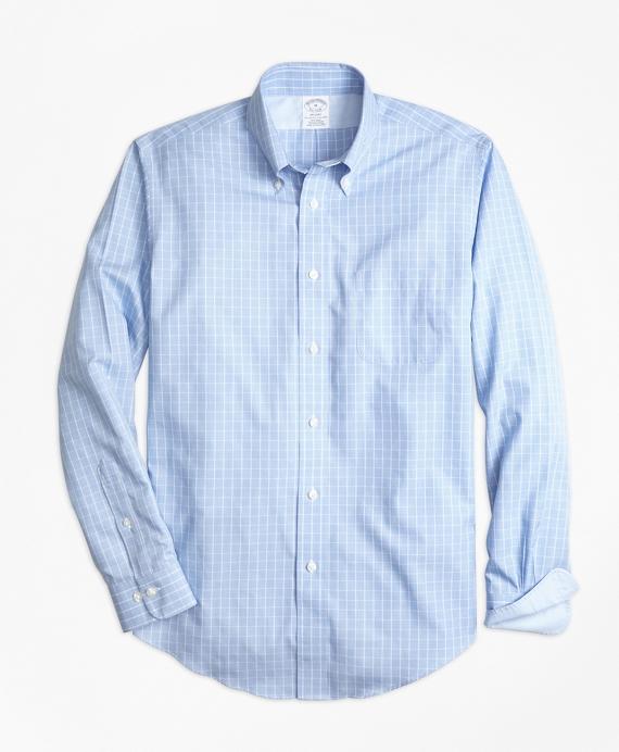 Non-Iron Regent Fit Yarn-Dyed Windowpane Sport Shirt Blue