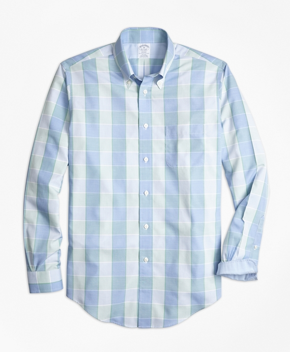 Non-Iron Regent Fit Yarn-Dyed Plaid Sport Shirt Blue-Green