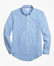 Regent Fit Gingham with Ship's Wheel Print Sport Shirt