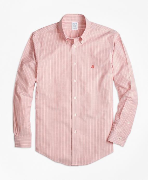 Non-Iron Regent Fit Oxford Stripe Sport Shirt Red