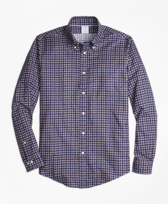 Regent Fit Mini-Paisley Print Sport Shirt Navy