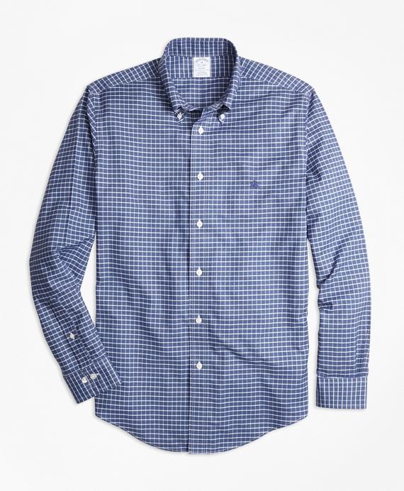Non-Iron Regent Fit Heathered Tattersall Sport Shirt Navy