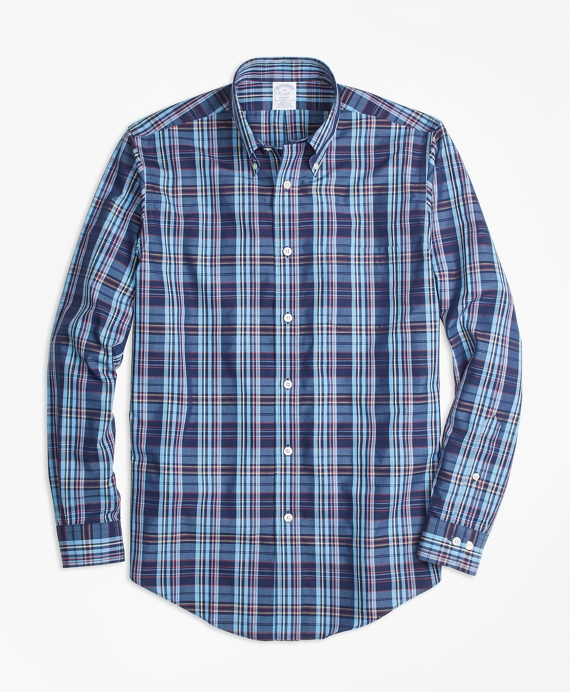 Non-Iron Regent Fit Multi-Plaid Sport Shirt Blue