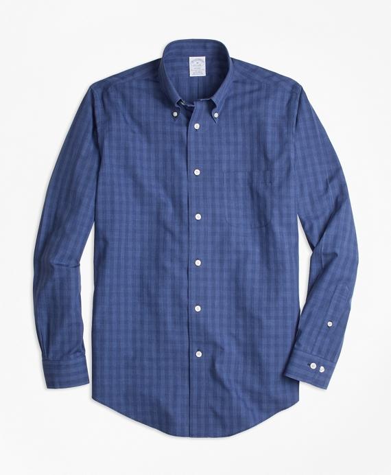Non-Iron Regent Fit Windowpane Sport Shirt Navy